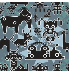 Robot and monsters cute seamless pattern vector image vector image