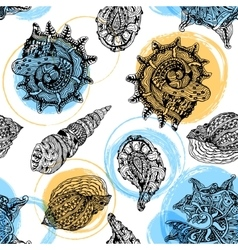 seamless pattern with abstract shells vector image