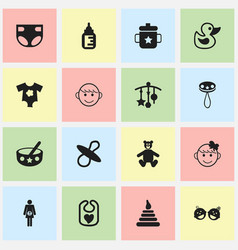 Set of 16 editable infant icons includes symbols vector