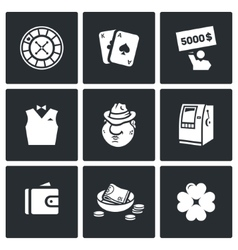 Set of casino icons roulette deck win vector
