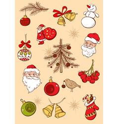 Set of Christmas hand drawn icons vector image vector image