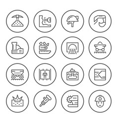 set round line icons of mining vector image