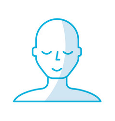 Shadow blue bald man vector