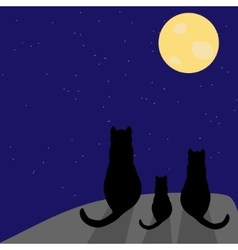Silhouette of cat with full moon vector
