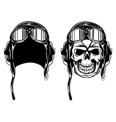 Skull in pilots helmet vector