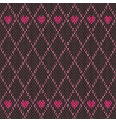 Style Seamless Pink Brown Color Knitted Pattern vector image