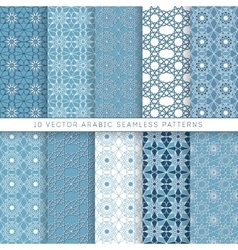 Ten blue arabic pattern vector image vector image