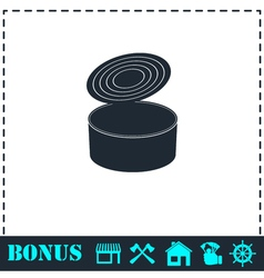 Tin can icon flat vector