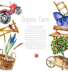 Watercolor organic farm vector