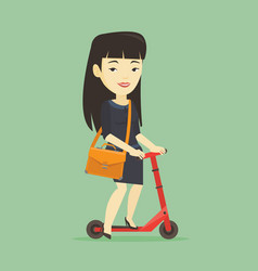 Woman riding kick scooter vector