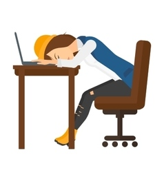 Woman sleeping on workplace vector image
