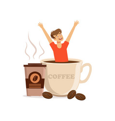 young man sitting in oversized cup of coffee vector image
