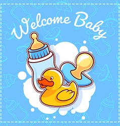 Baby shower card welcome baby vector