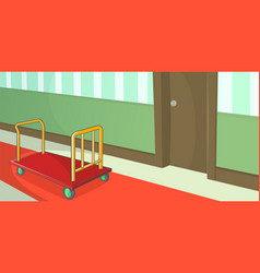 Hotel horizontal banner corridor cartoon style vector