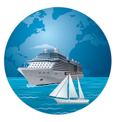 Cruise ship and luxury yacht vector