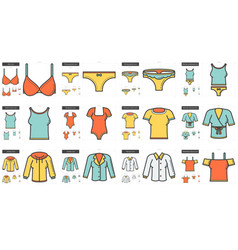 Clothes line icon set vector
