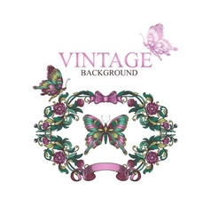 Vintage decorative floral frame with butterflies vector