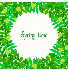 Spring card background with wreath of leaves vector