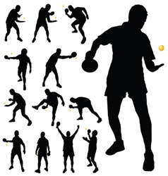 Table tennis player silhouette vector