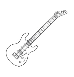 Dark contour electric guitar technical vector