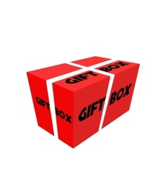 Red realistic package cardboard box with ribbon vector