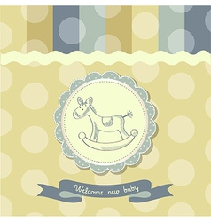 Retro baby shower card with rocking horse vector