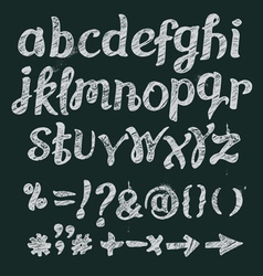 Chalk alphabet hand drawn font vector