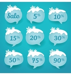 Winter sale labels in form of speech snow bubbles vector