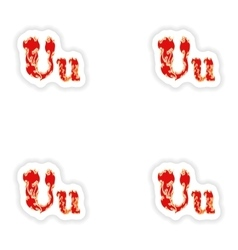 Assembly stickers fiery font red letter u on white vector