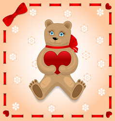 Bear with heart on the background vector