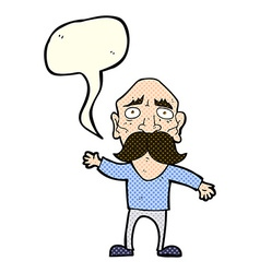 Cartoon worried old man with speech bubble vector