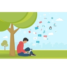 Young man sitting in the park under a tree and vector