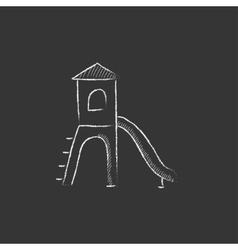 Playground with slide drawn in chalk icon vector