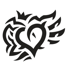 Heart with crown and wings tattoo vector