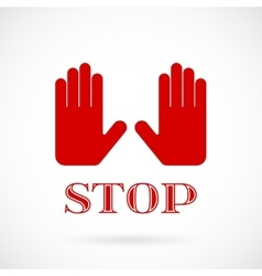 stop hands signal sign vector image