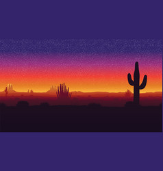background of landscape with desert and cactus vector image