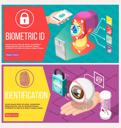 Biometric id horizontal banners vector