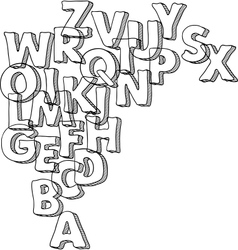 Black bacground with letters of alphabet vector image vector image