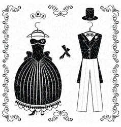 Black-white wedding outfits of bride and groom vector