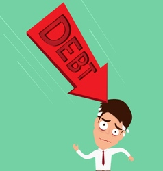 Businessman worried about big debt debt concept vector
