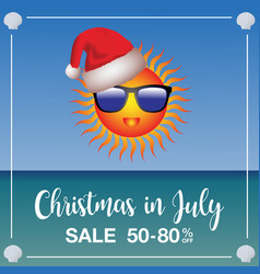 Christmas in july sale marketing template vector