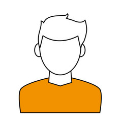 Color contour cartoon faceless half body man with vector