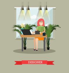 creative designer in flat vector image vector image