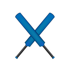 Crossed cricket bats in blue design vector