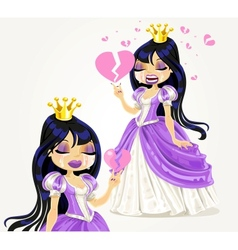 Crying gothic princess with a broken heart vector