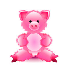 cute pink pig soft toy isolated on white vector image