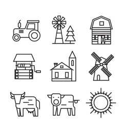 farm flat icons vector image