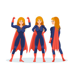 Female superhero in different situations poses vector