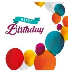 Happy birthday card flying balloons white vector