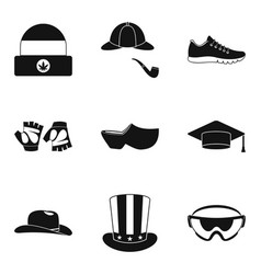 hats clothing icon set simple style vector image